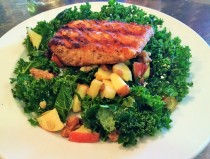 Kale Salad ($11) with grilled salmon ($6)