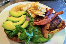 Farm Burger ($14) with avocados ($1) and bacon ($1)