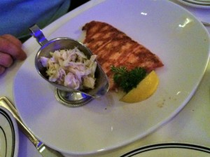 Grilled Norwegian Salmon ($36.95) with the Blue Crab Oscar ($10.95)