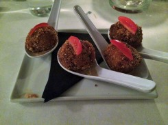Tomato Bon Bons ($8) with and extra for $2 more.
